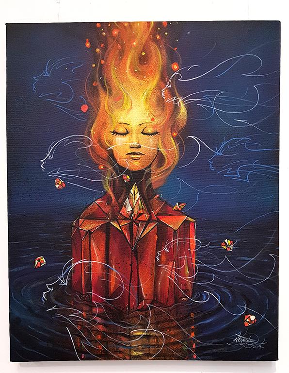 exposição de quadros em grafite e arame de Anjo