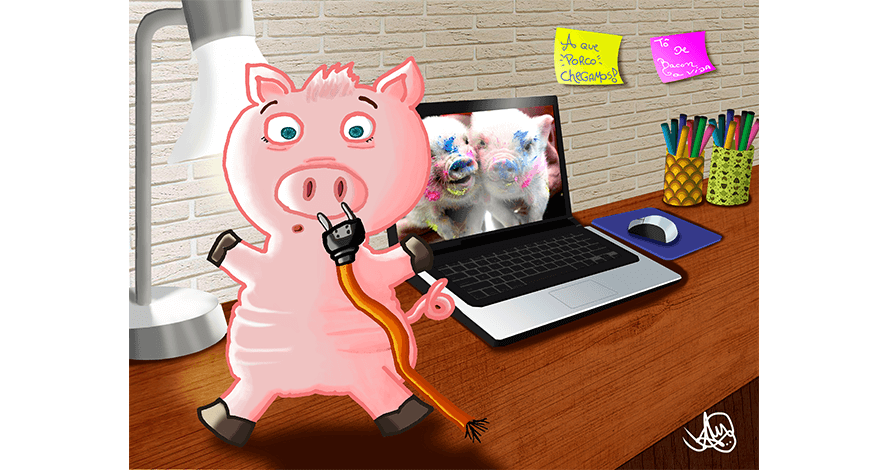 arte digital kids porco tomada lap top