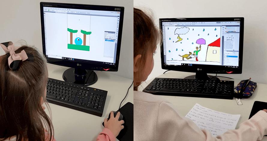 arte digital kids - crianças em aula