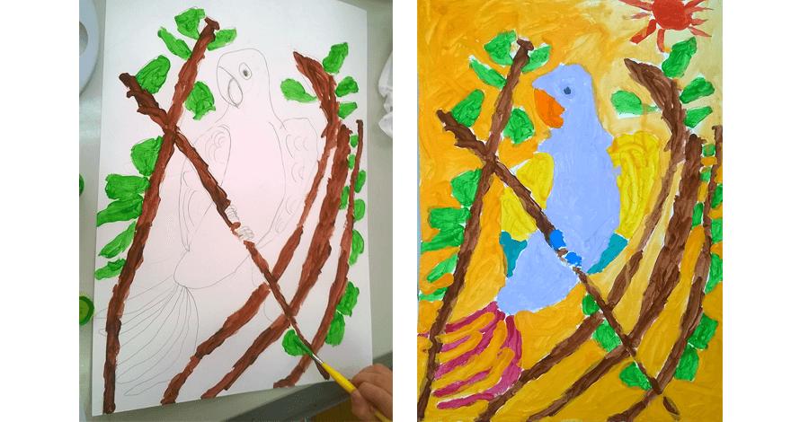 curso pintura arte crianças arara natureza