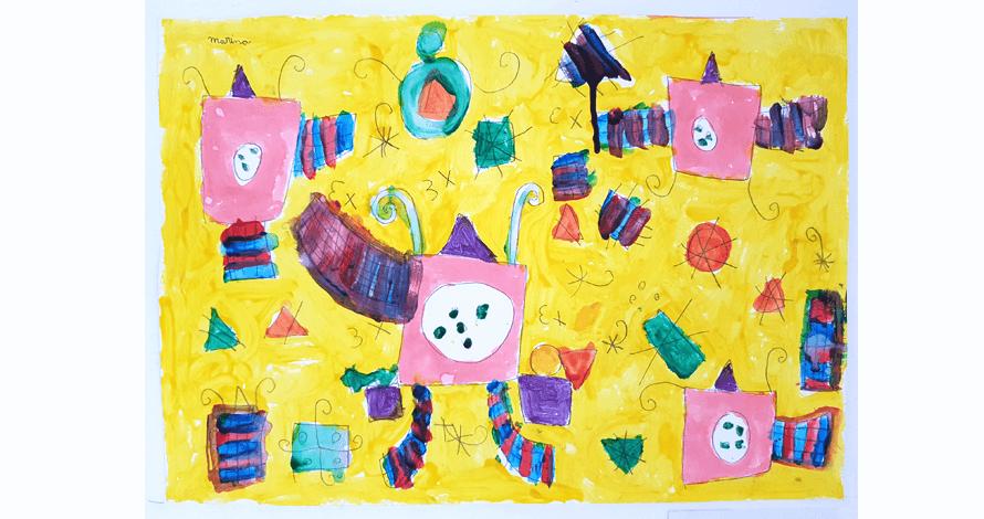 arte para crianças curso projetos artísticos pintura inspirado Miró