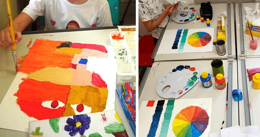 arte para crianças curso projetos artísticos pintura a guache cores