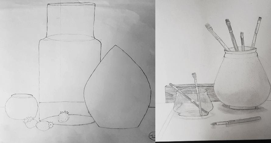 bases do desenho composição observação vasos pincéis frutas e vidros