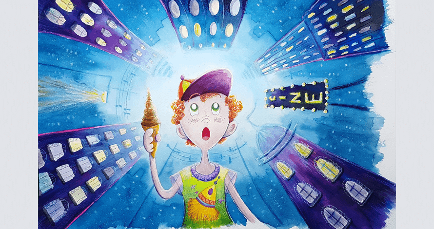 ilustração menino com sorvete em cidade prédios