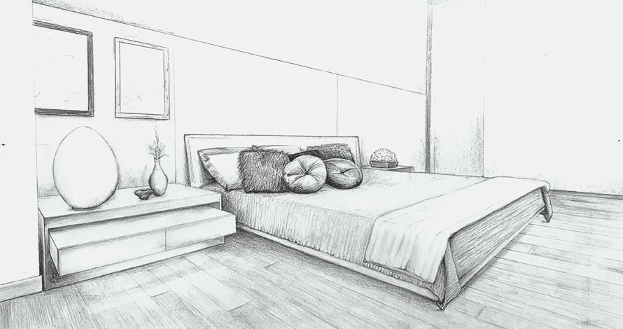 desenho perspectiva de quarto com cama e almofadas