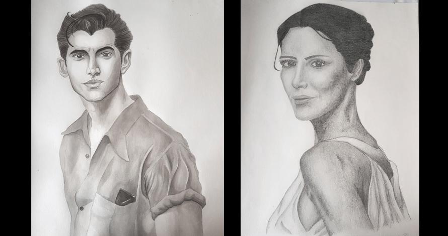 desenho retrato realistas homem e mulher