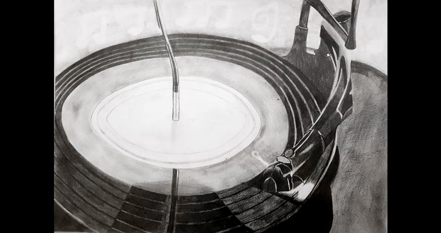 desenho toca discos LP antigo em grafite