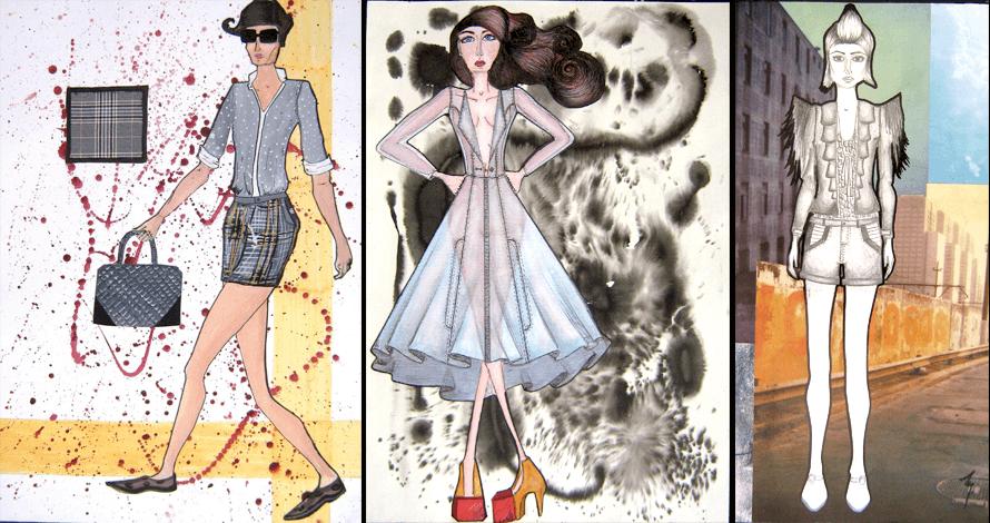criatividade em moda ilustração a cores desenho de moda estampa