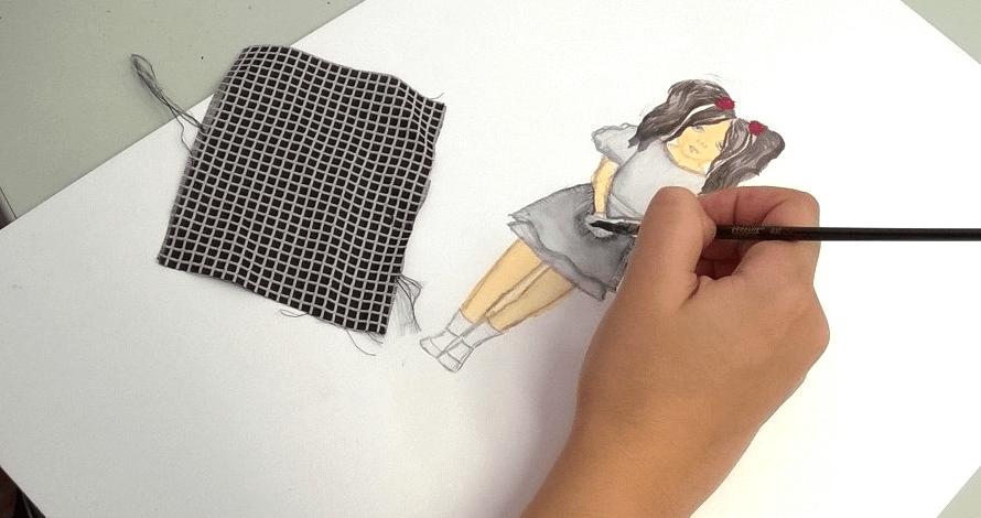 criatividade em moda ilustração a cores desenho tecido estampa