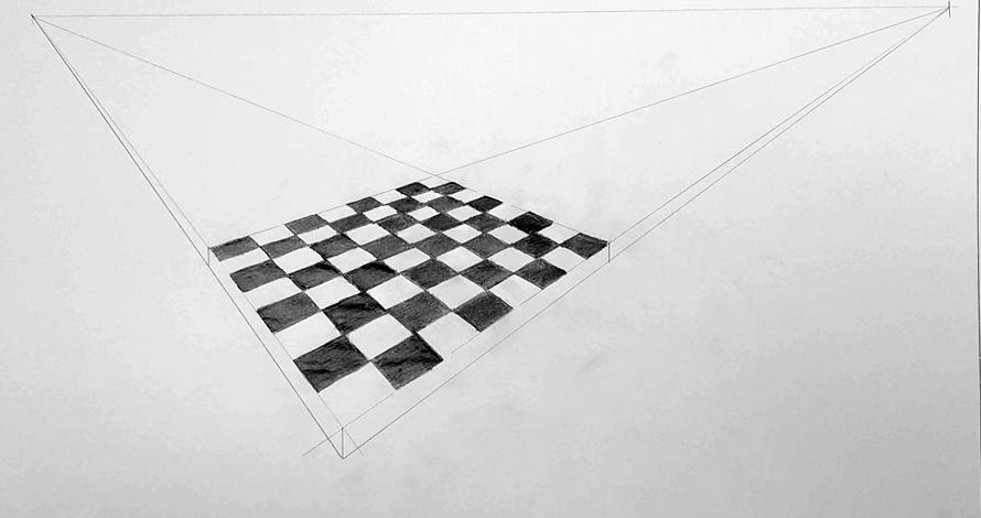 decoração - projeto de ambiente perspectiva com divisão xadrez