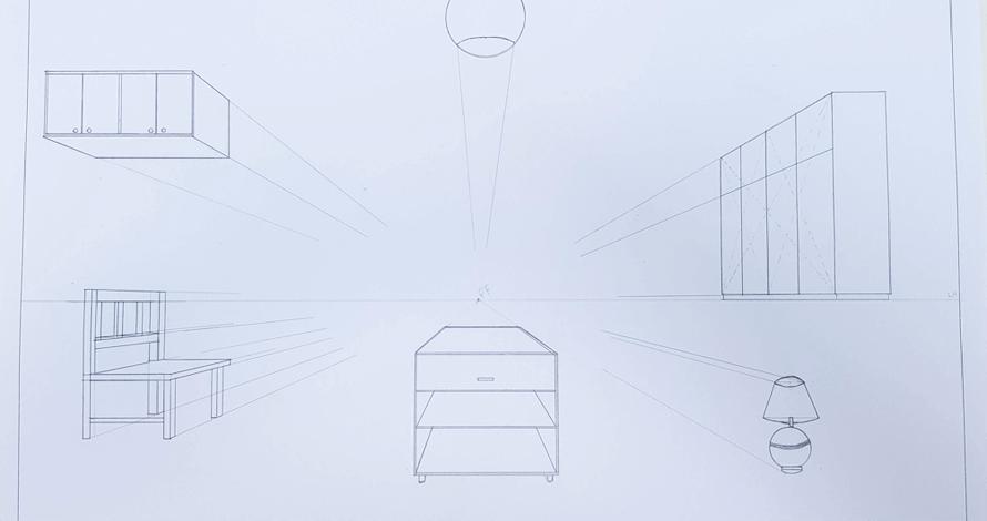 decoração - projeto de ambiente perspectiva desenho 1 ponto de fuga móveis