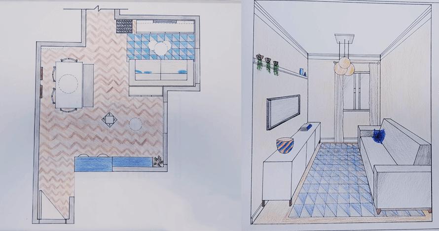 decoração - projeto de ambiente planta sala e perspectiva