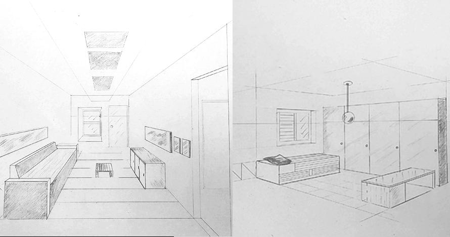 decoração - projeto de ambiente perspectiva desenho sala e quarto em grafite