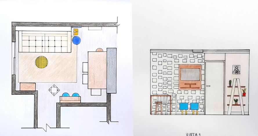 decoração - projeto de ambiente planta e elevação sala