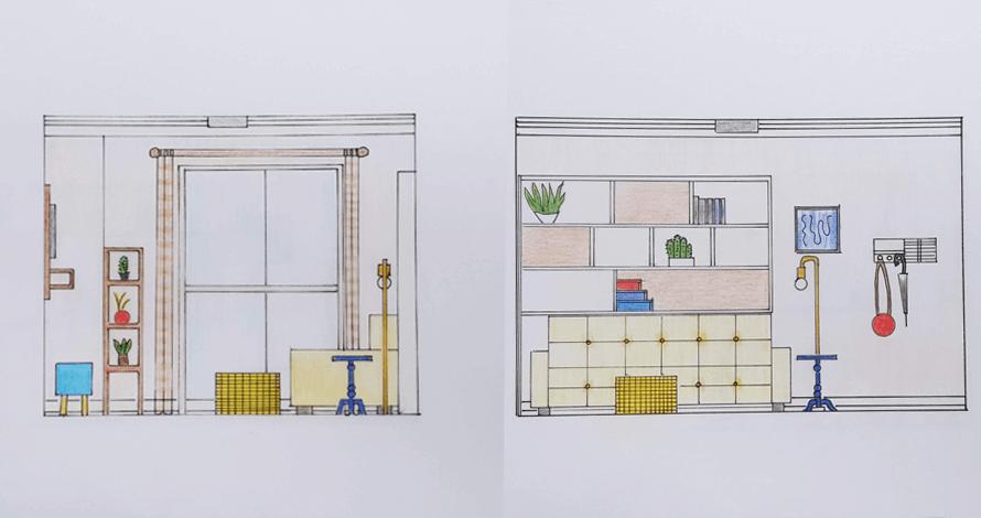 decoração - projeto de ambiente corte e elevação de sala