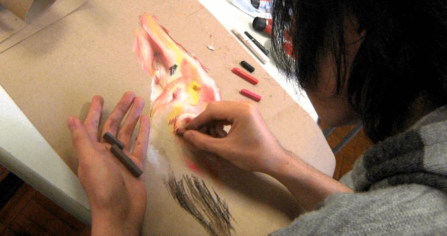 desenho criativo modelo vivo pastel seco
