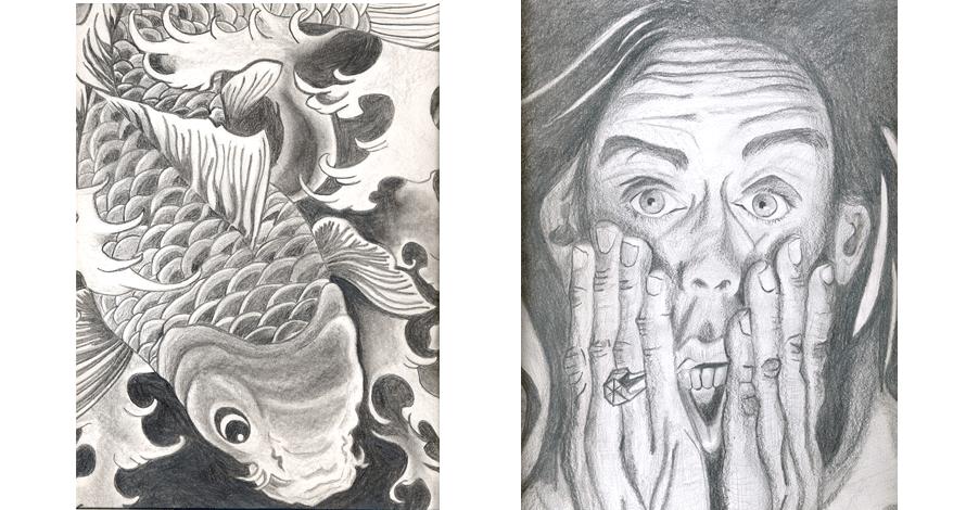 desenho criativo retrato peixes desenho realista