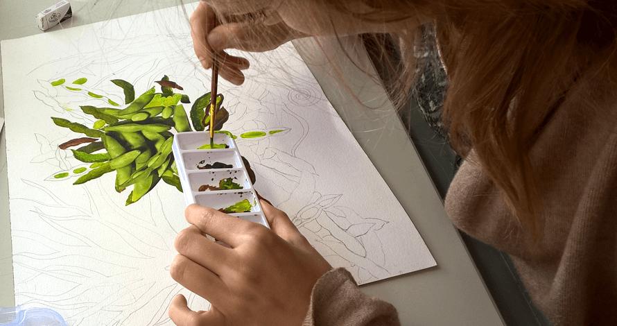 desenho criativo guache vagem verde green