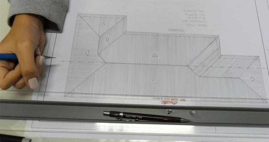 desenho de arquitetura telhado lapiseira