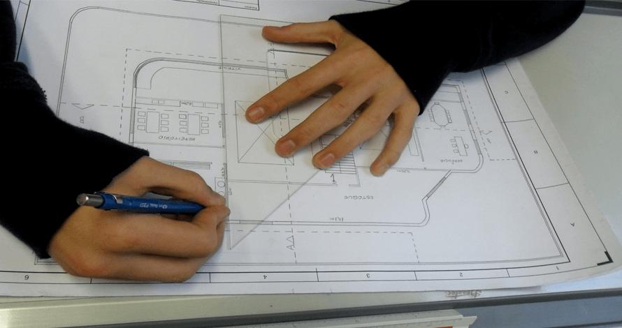 desenho de arquitetura planta esquadro lapiseira