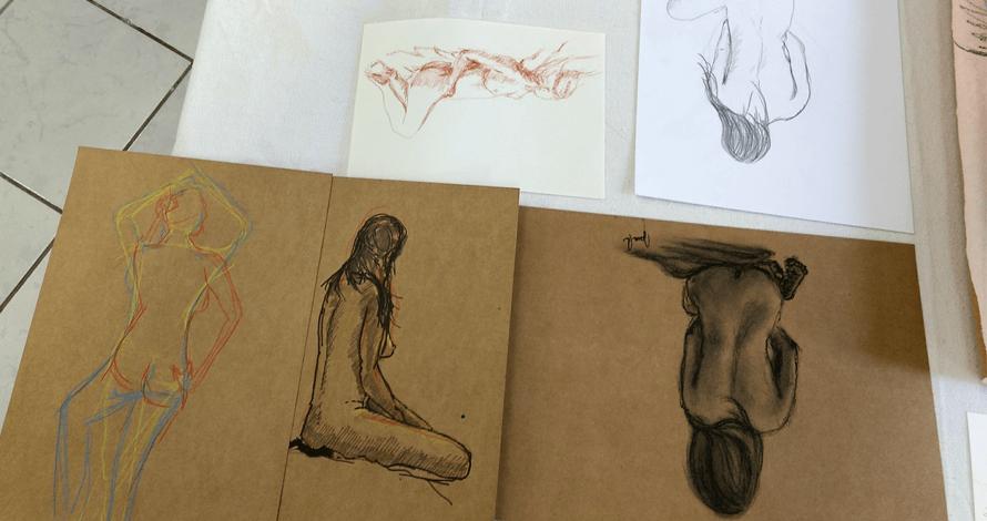 desenho em atelier curso modelo vivo figura humana de observação carvão