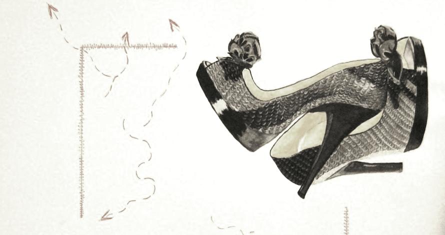 criatividade em moda ilustração a cores desenho de moda acessórios