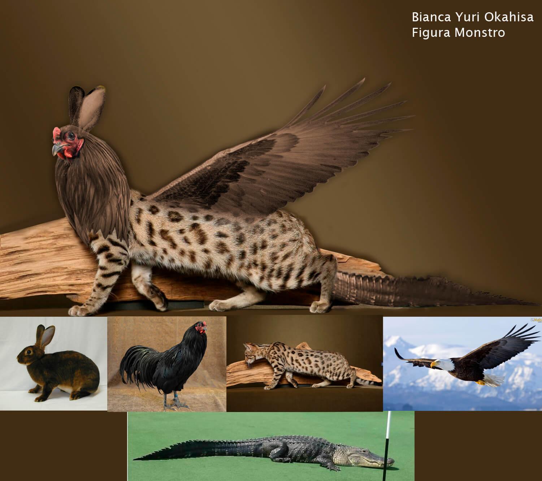 arte digital kids colagem animal coelho galo águia onça