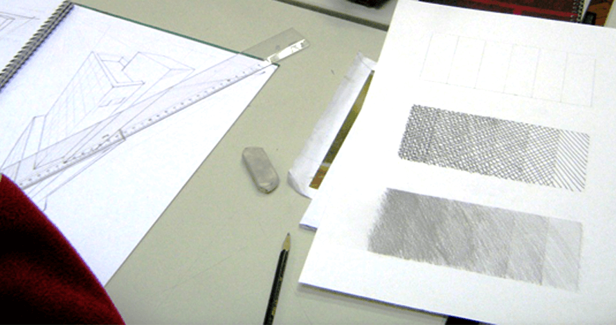desenho para vestibular perspectiva escala de valores grafite