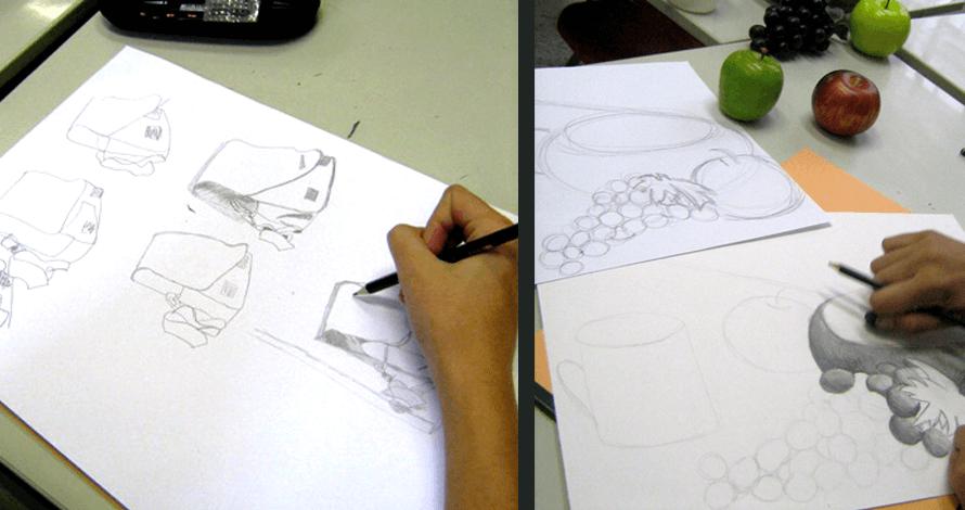 desenho para vestibular - alunos em aula