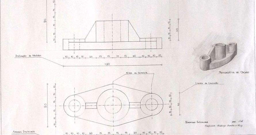 desenho técnico projeto cotas perspectiva