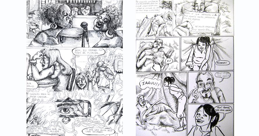 história em quadrinhos arte final em nanquim páginas