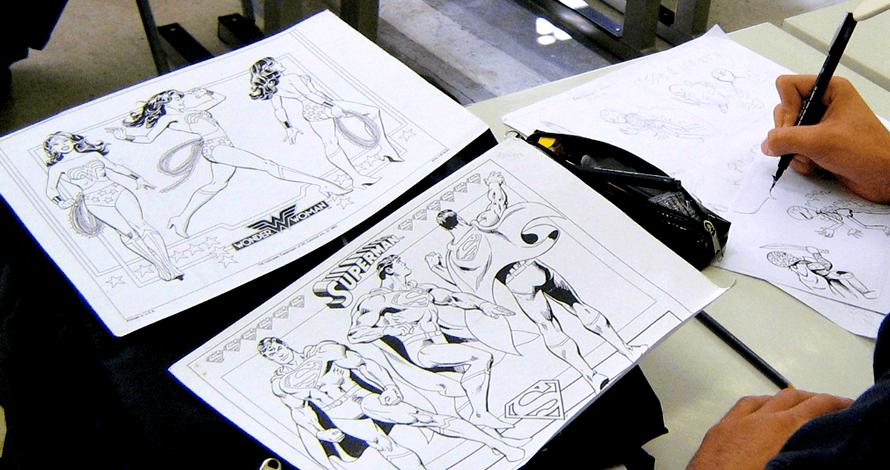 história em quadrinhos arte final nanquim super-homem e mulher maravilha