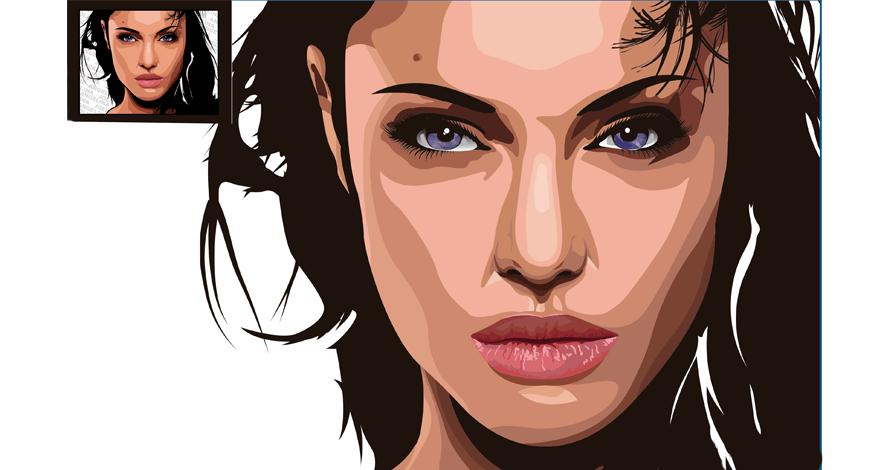 illustrator rosto em desenho digital vetorizado