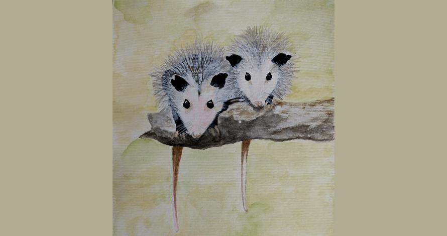 ilustração ratos em árvore gris