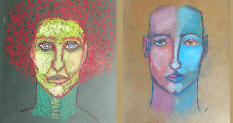 ilustração rostos com pastel seco