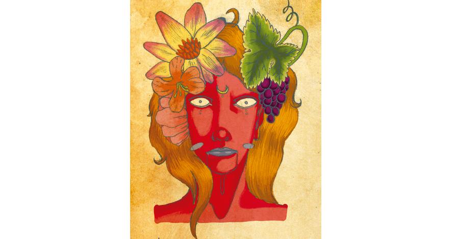 ilustração digital desenho em photoshop rosto vermelho com natureza