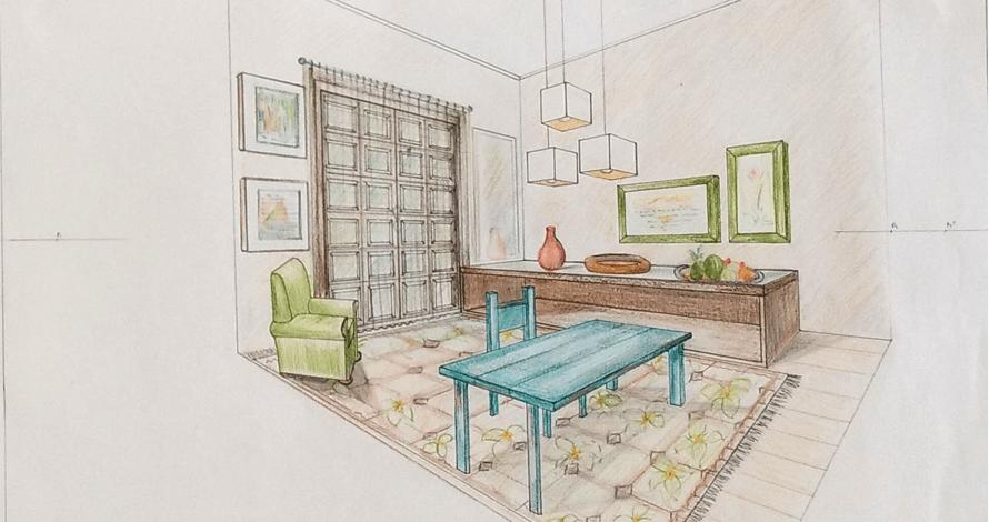 perspectiva desenho sala colorida
