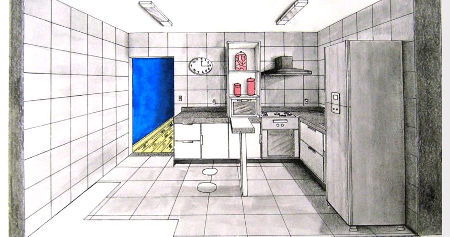 perspectiva desenho de cozinha