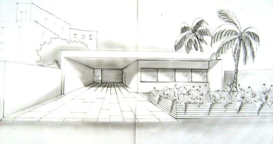 perspectiva desenho fachada de casa com palmeiras