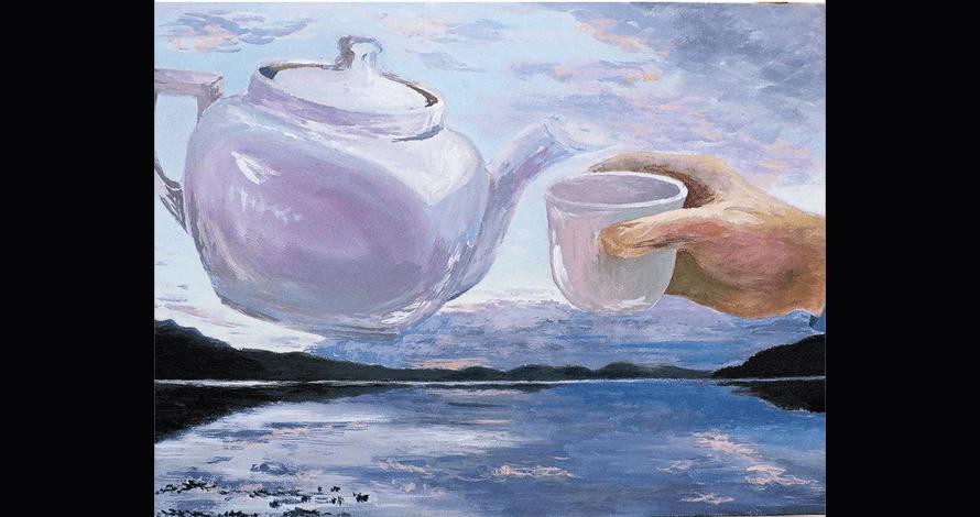 curso pintura óleo sobre tela xícara e bule de chá mar paisagem