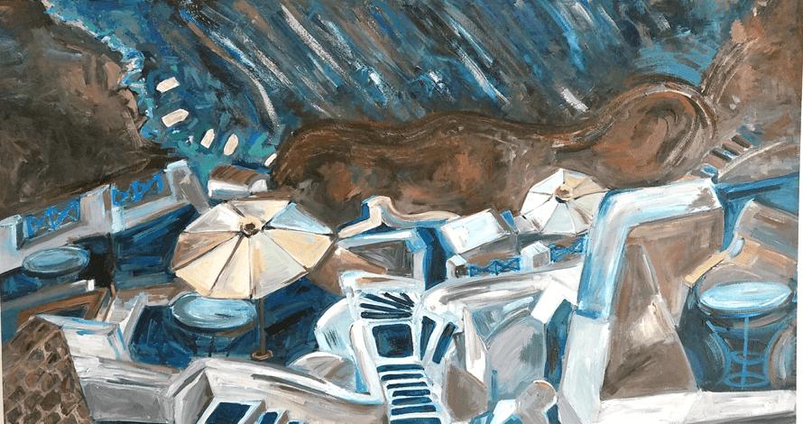 curso pintura óleo sobre tela mar estilização costa grécia