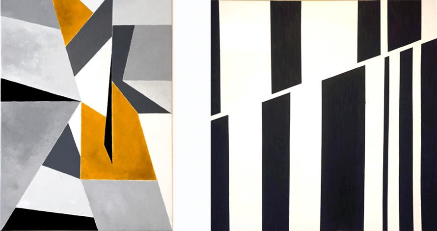 curso pintura tela abstrato geométrico branco e preto e cinzas