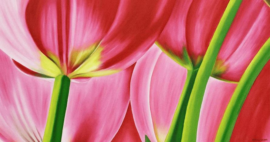 curso pintura tela flores natureza tulipas rosas
