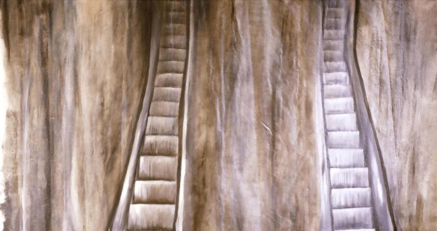 Praticas de Artista oNUCLEO pintura de escada rolante com tinta a óleo