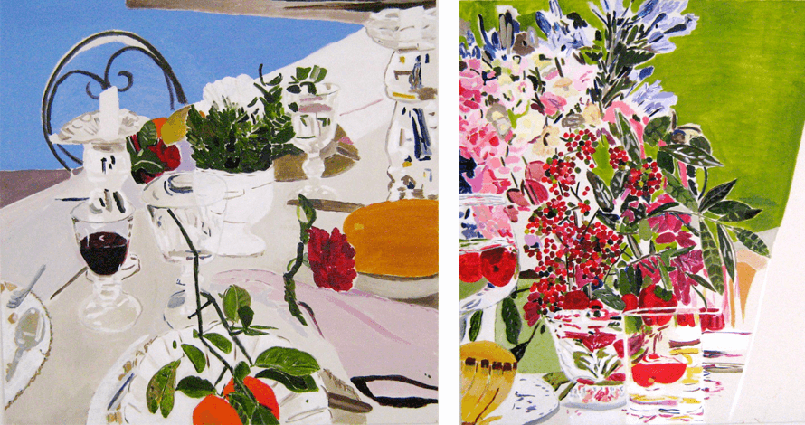 curso pintura tela flores natureza morta taças