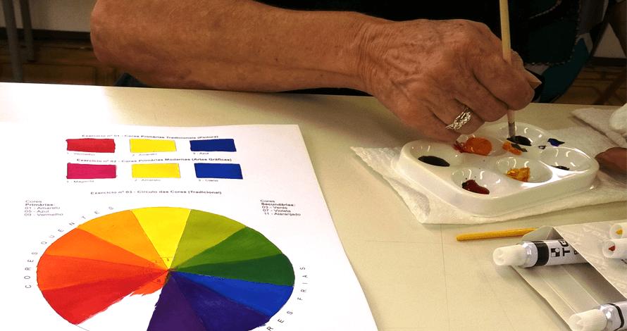 curso pintura teoria das cores guache godê pincel
