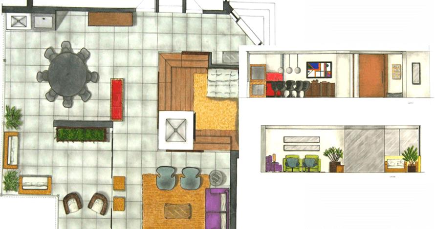 técnico em design de interiores planta apartamento decorada