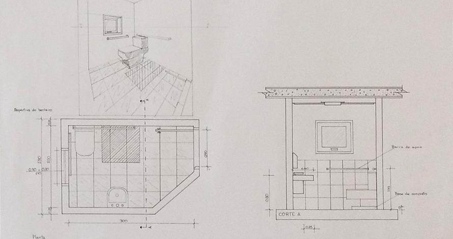 técnico em design de interiores projeto de banheiro planta elevação perspectiva