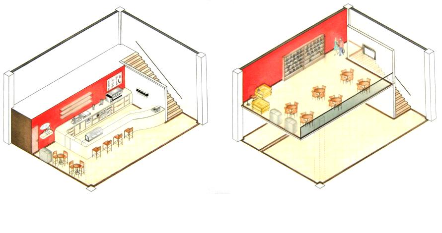 técnico em design de interiores perspectiva isométrica