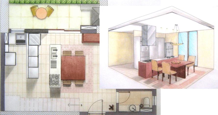 técnico em design de interiores planta decorada e perspectiva